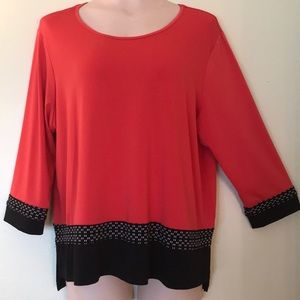Alfred Dunner 3/4 Length Sleeve Tunic Top-Size PXL